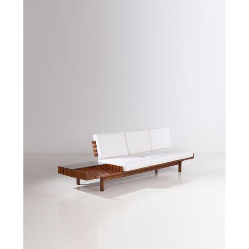 Joaquim Tenreiro (1906 1992)  Sofa  Peroba wood, glass and fabric  Tenreiro Move…