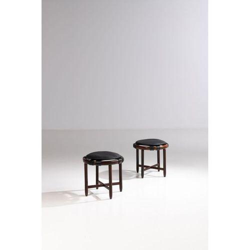Ƒ Jean Gillon (1919 2007)  Pair of stools  Massaranduba wood and leather  Creati…