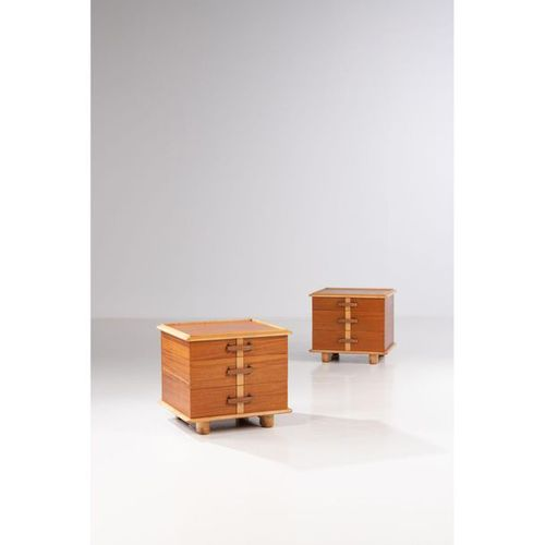 Paul Frankl (1886 1958)  Station wagon collection  Pair of side tables  Mahogany…