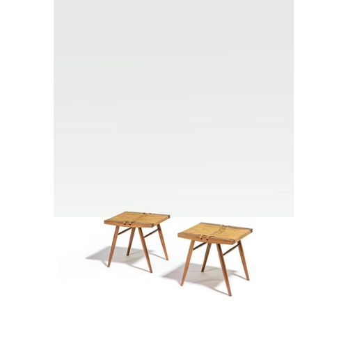 George Nakashima (1905 1990)  Seagrass Custom order  Pair of stools  Walnut and …