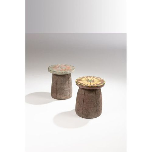 Stan Bitters (born 1936)  Pair of stools Unique pieces  Ceramic and faience  Cre…