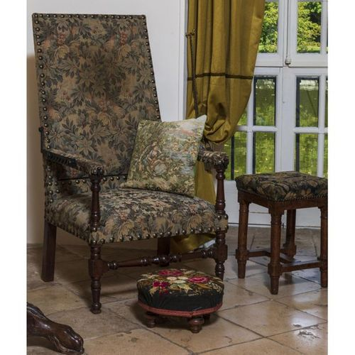 A Louis XIII style fauteuil de malade  H 120 x L 64 x P 51 cm  Together with two…