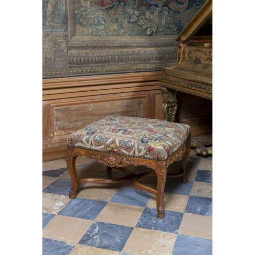 A Regence style stool, on cabriole legs.  H 47 x W 68 x D 58 cm