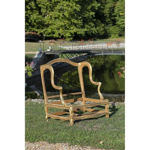 """An Louis XV giltwood small """"canapé a oreilles"""", stamped by Georges Jacob.  XVIII…"""