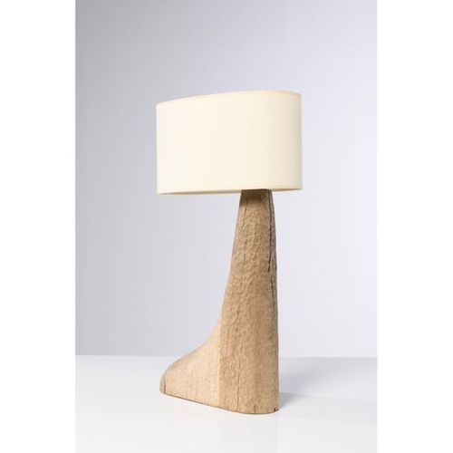 Pavel Novak (XX)  Table lamp  Gouged oak wood  Creation date: circa 1980  H 68×L…