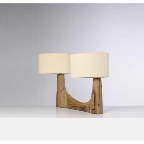 Pavel Novak (XX)  Table lamp  Gouged oak wood  Creation date: circa 1980  Base: …