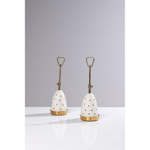 Angelo Lelii (1915 1987)  Stelline  Pair of table lamps  Brass, aluminum and gla…