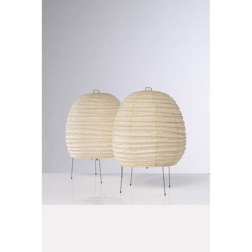 Isamu Noguchi (1904 1988)  Model n° 20N  Pair of lamps  Washi paper and black la…