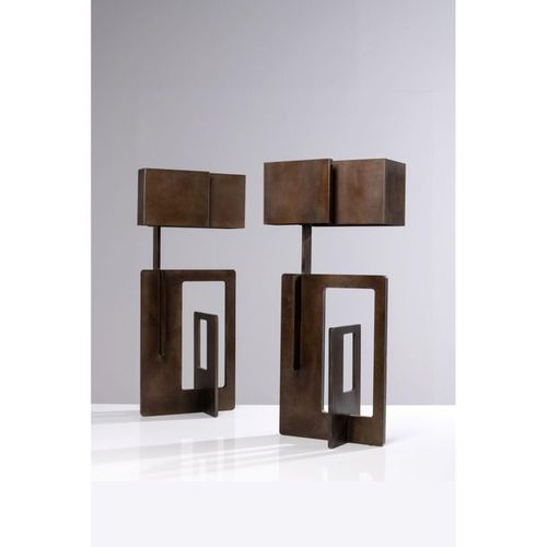 Angelo Brotto (1914 2002)  Pair of table lamps  Patinaed steel  Esperia edition …