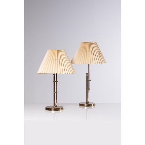 Bergboms (XX)  Pair of table lamps  Brass, metal and fabric  Bergboms edition  M…