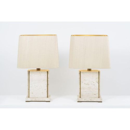 Italian production (XX)  Pair of table lamps  Travertine, brass and fabric  Crea…