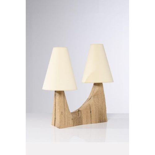 Pavel Novak (XX)  Table lamp  Gouged oak wood  Creation date: circa 1980  H 34×L…