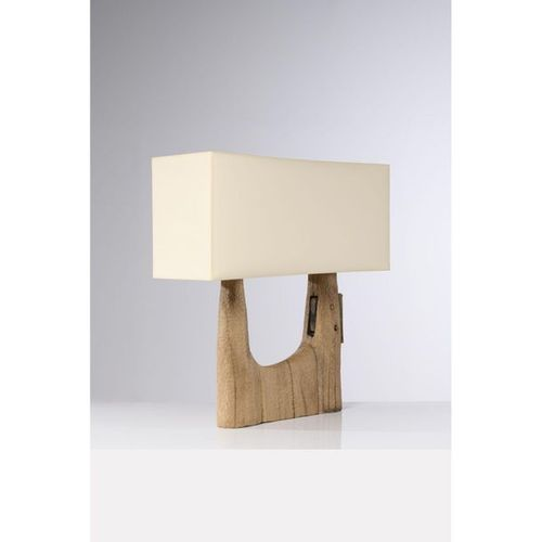 Pavel Novak (XX)  Table lamp  Gouged oak wood  Creation date: circa 1980  H 95×L…