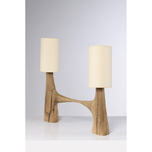 Pavel Novak (XX)  Table lamp  Gouged oak wood  Creation date: circa 1980  H 95×L…