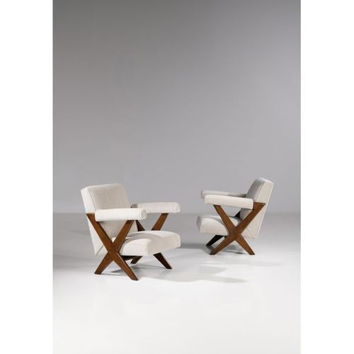 Pierre Jeanneret (1896 1967)  Pair of armchairs type PJ SI 48 A  Teak and textil…