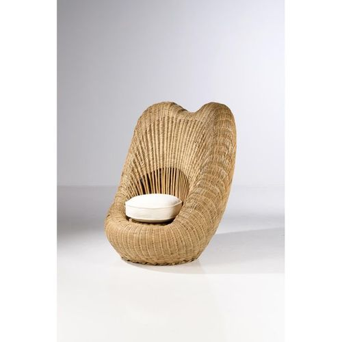 French work (XX)  Armchair  Woven bamboo and textile  Date of creation: around 1…