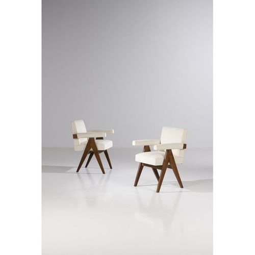 Pierre Jeanneret (1896 1967)  Pair of 'Office chairs'.  Teak and textile  Date o…
