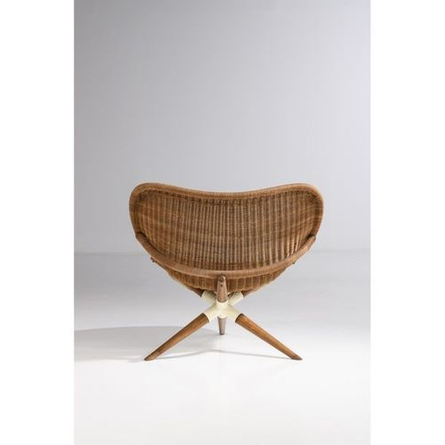 Joseph André Motte (1925 2013)  Pair of 'Chistera' armchairs  Woven rattan pith,…