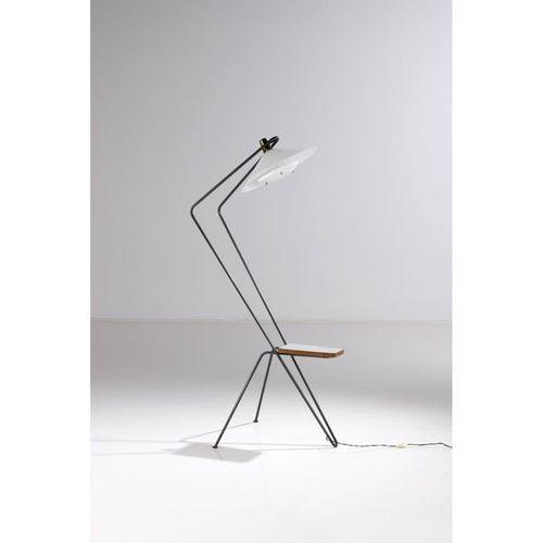 Robert Mathieu (1921 2002)  Shelf lamp  Folded steel tube, Perspex, brass, lamin…