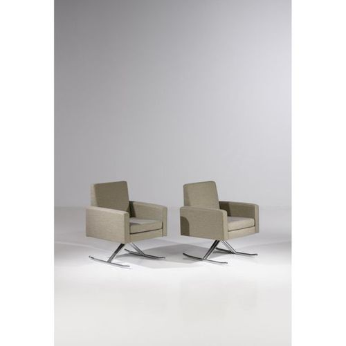 Joseph André Motte (1925 2013)  Pair of 'Luge' armchairs  Chrome steel and texti…