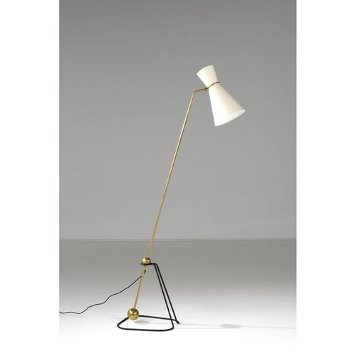 Pierre Guariche (1926 1995)  Floor lamp model G2  Brass, lacquered metal and tex…