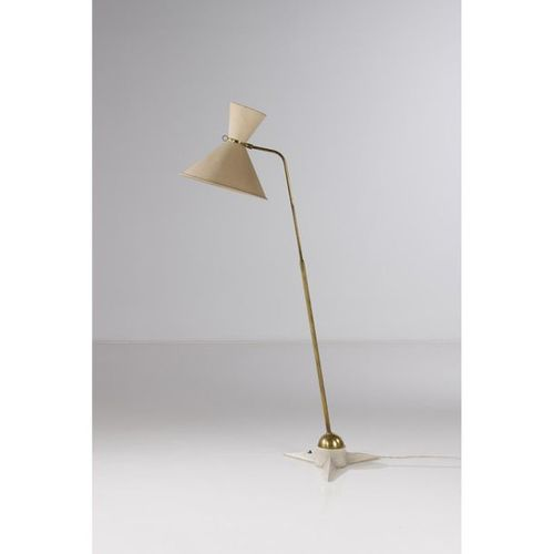 Robert Mathieu (1921 2002)  Floor lamp  White lacquered cast steel, brass and te…