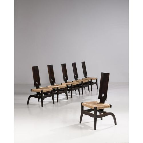 Victor Courtray (1896 1987)  Suite of six high back chairs  Stained oak and stra…