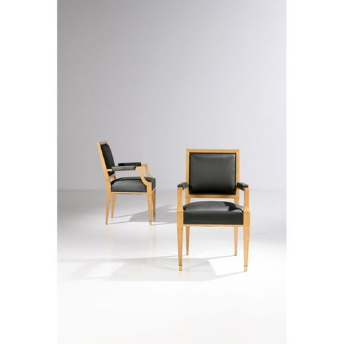 Jacques Adnet (1901 1984)  Pair of armchairs  Sycamore, textile and brass  Date …