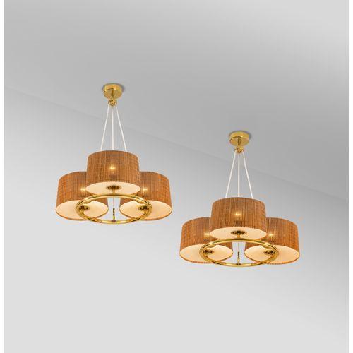 Paavo Tynell (1890 1973)  Paire de suspensions  Laiton, verre et textile  Modèle…