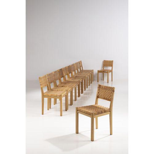 Aino Aalto (1894 1949)  Modèle n°615  Suite de douze chaises  Rotin et bois  Édi…