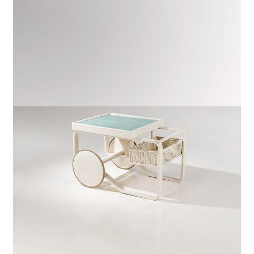 Alvar Aalto (1898 1976)  Modèle n°900  Desserte  Bouleau contreplaqué, rotin, ca…