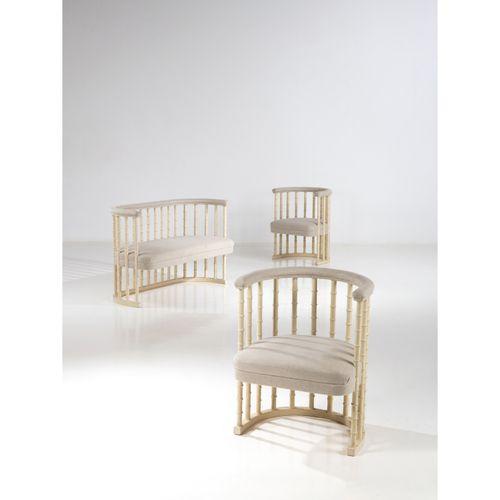 Eliel Saarinen (1873 1950)  Ensemble de deux fauteuils et d'un canapé  Bouleau e…