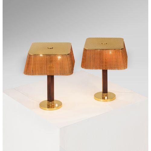 Paavo Tynell (1890 1973)  Modèle n°5066  Paire de lampes de table  Laiton et boi…