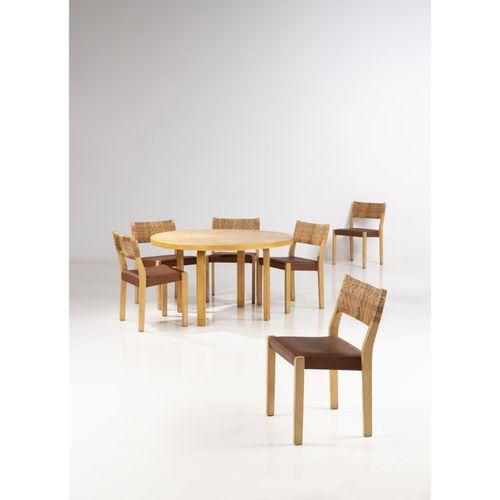 Alvar Aalto (1898 1976)  Modèles n°91 et n°611  Ensemble d'une table et de six c…