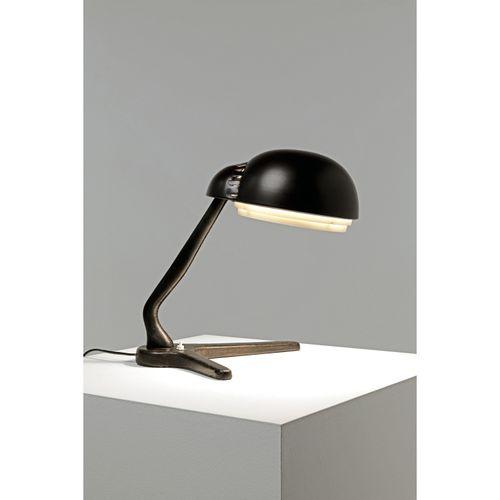 Alvar Aalto (1898 1976)  Modèle n°A 704  Lampe de table  Métal et cuir  Édition …