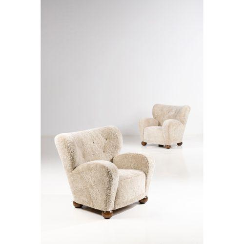 Märta Blomstedt (1899 1982)  Aulanko  Paire de fauteuils  Bouleau et textile  Mo…
