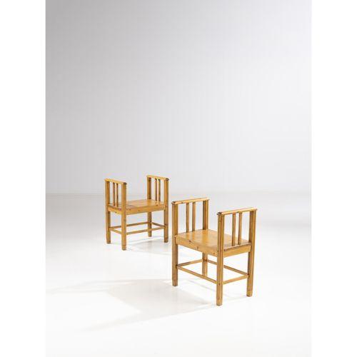 Wivi Lönn (1872 1966)  Paire de tabourets  Pin  Modèle créé vers 1911  H 74 × L …