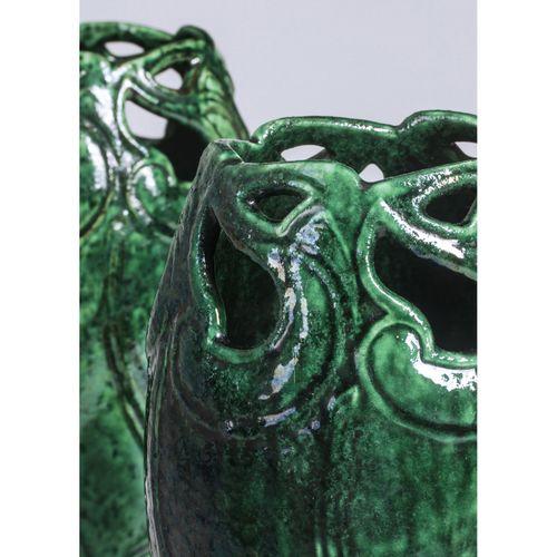Alfred William Finch (1854 1930)  Paire de vases  Céramique émaillée  Signés  Mo…