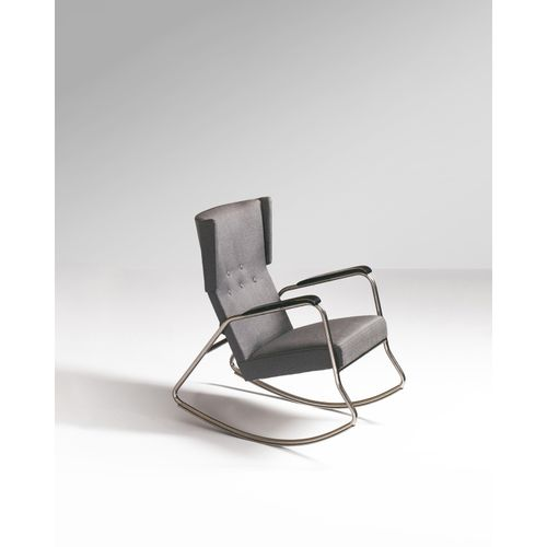 Alvar Aalto (1898 1976)  Fauteuil à bascule  Acier, bois peint et textile  Modèl…
