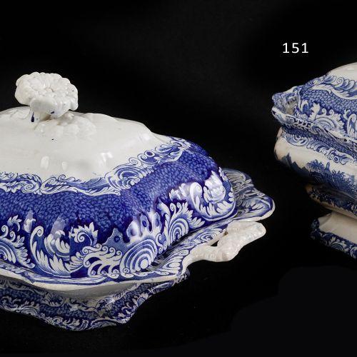 Sargadelos blue tureen Tray in fine china Sargadelos, Third Epoch (1845 1862). D…