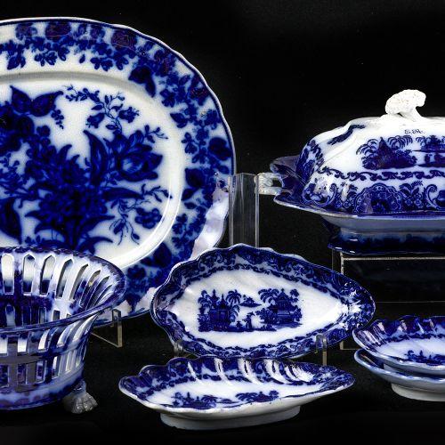 Sargadelos chinoiserie blue set 7 pieces set in fine earthenware from Sargadelos…