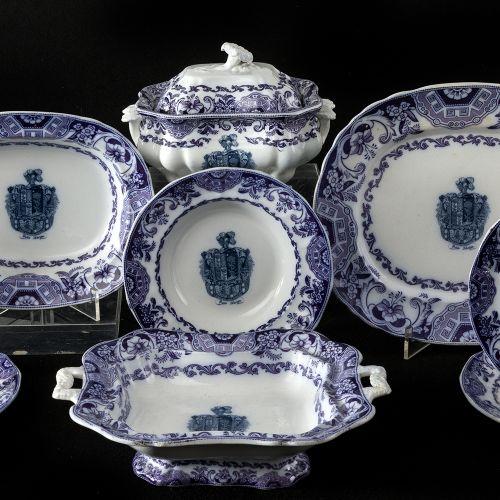 """""""Sardelos"""" emblazoned earthenware set 9 pieces Set in fine sloin of Sargadelos, …"""