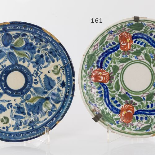 Levantine dish Levantine ceramic dish glazed and polychrome, C.XIX XX with flora…