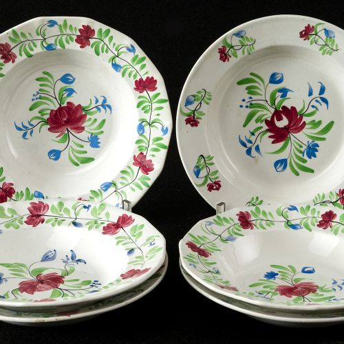 Lot of Sargadelos 6 hand painted flower plates set of six soup dishes, in fine e…