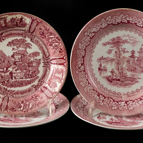 Four Sargadelos pink landscape plates Lot consists of four plates in fine china …