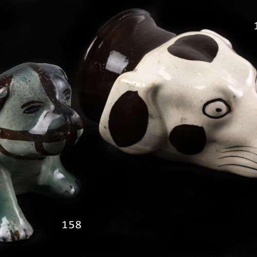Sargadelo. Earthenware dog. Antique hunter's cup, in the shape of a dog's head. …