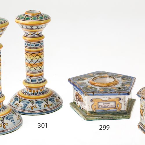 Pair of Talavera ceramic candlesticks Paire de chandeliers en céramique Talavera…