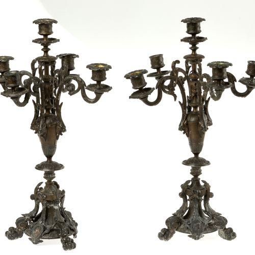 Pair of calamine candlesticks XIX Paire de chandeliers en calamine, 19e 20e sièc…