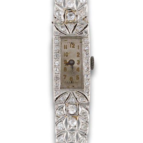 JEWEL WATCH DIAMONDS Montre des années 1920 en or blanc 18kt, mouvement mécaniqu…