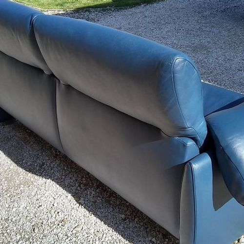 DS10/23 blue leather sofa  Ed. De Sede, circa 2000  205 cm x 85 cm x 85 cm Seat …
